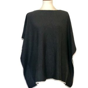 PHASE3 Charcoal Poncho Style Sleeveless Sweater